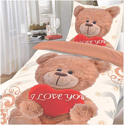 Julido Microfaser Bettwäsche 135x200 + 80x80 Love You Bär Kinderbettwäsche