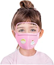 Children's Face Macks Washable Reusable Outdoor Face Bandanas Cute Pattern Dust Mouth Shield for Kids Boys Girls 儿童卡通印花户外防尘一体式安全可拆卸护目防护带阀Sweetie C 云朵款