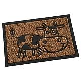 DRW Felpudo de Fibra de Coco y Goma con Vaca marrón y Negro 40x60cm