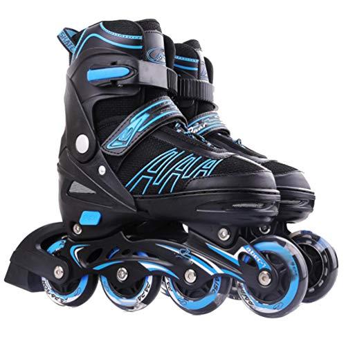 WTTO Rollschuhe, größenverstellbare Inline-Skates Langlebig und stark Mit leuchtenden Rädern Rollschuhe mädchen Eingebautes Kissen Ideal für Anfänger,Blue_L-24-26.5cm