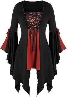 Women's Gothic Costumes Renaissance Oversized V-Neck Blouse Long Flare Sleeve Bandage Sequined Tops