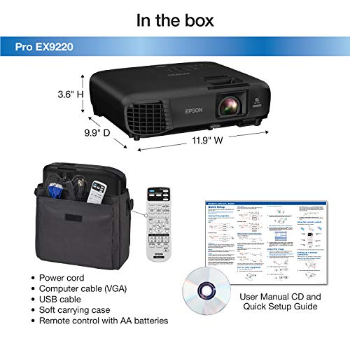 Epson Pro EX9220 1080p+ WUXGA 3,600 lumens color brightness (color light output) 3,600 lumens white brightness (white light output) wireless Miracast HDMI MHL 3LCD projector Photo #4