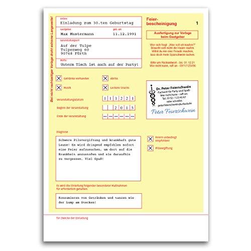 (20 x) Einladungskarten Geburtstag Krankschreibung Krankmeldung Einladungen