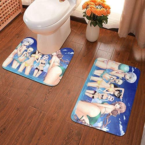 xuexiao Game Anime - Juego de 2 alfombrillas de baño para niña y bikini, juego de alfombras de baño suaves y antideslizantes + almohadillas de contorno, alfombra absorbente de baño
