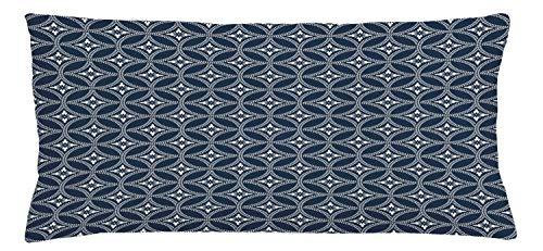 ABAKUHAUS Geométrico Funda para Almohada, Círculo De Lotus Japonesa, Colores Perdurables Tela Lavable, 90 x 40 cm, Crema Azul Oscuro