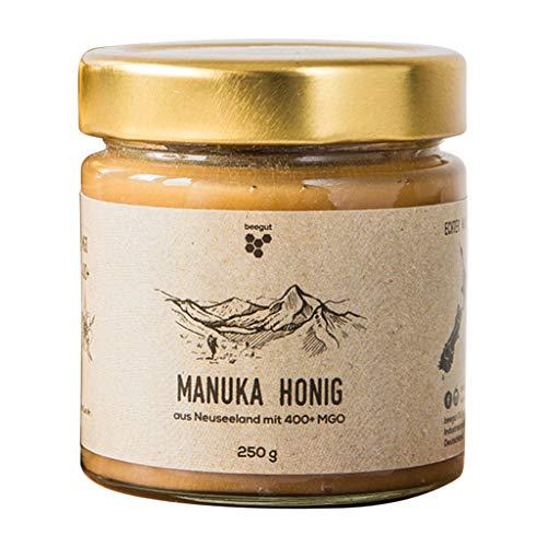 beegut Manuka Honig aus Neuseeland mit MGO 400+ im hochwertigen Glas (kein Plastik), in Deutschland abgefüllt und analysiert (250g)