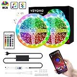 Bluetooth LED Streifen 10M, VOYOMO 2x5M SMD5050 RGB LED Strips steuerbar via App und 24-Tasten Fernbedienung mit 16 Millionen Farben, Timermodus und Sync mit Musik 12V für Haus, Garten, Dekoration
