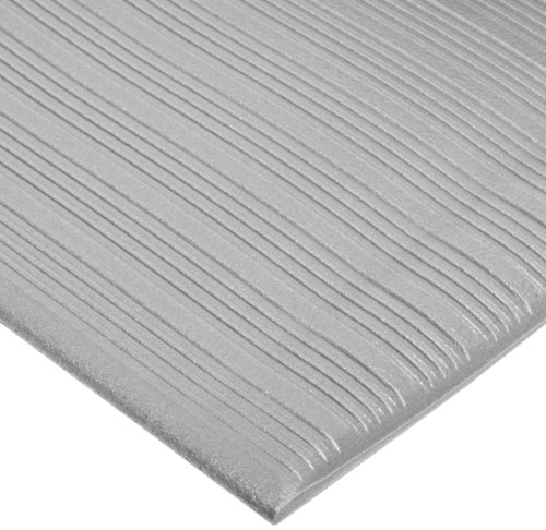 "NoTrax 410 PVC Airug Safety/Anti-Fatigue Floor Mat, for Dry Areas, 27"" Width x 5' Length x 3/8"" Thickness, Gray"