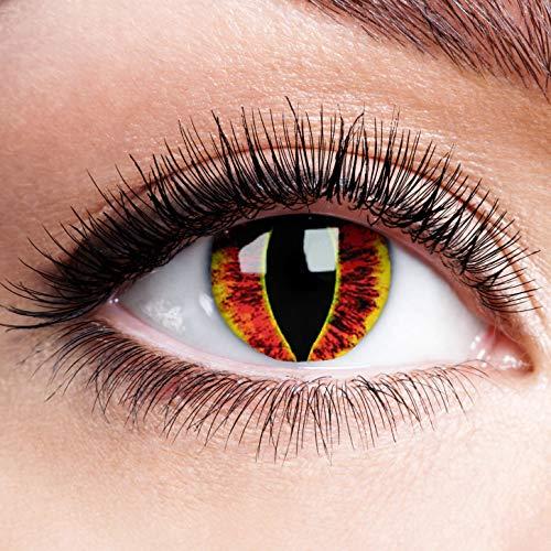 Farbige Kontaktlinsen ohne Stärke Sauron Eyes Gelbe Linsen Halloween Karneval Fasching Cosplay Anime Horror Gelb Rot Feuer Drache Augen Yellow Wildfire Dragon Fire Dämon Eye 0 dpt
