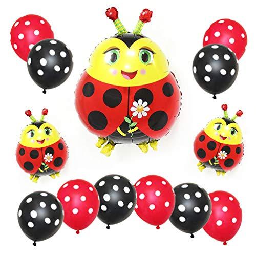 PRETYZOOM 13 globos decorativos para fiestas con diseño de mariquitas y puntos, de látex, globos con mariquita, globos para niños, fiesta de cumpleaños, boda, fiesta de Navidad, fiesta, decoración