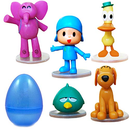 PARK AVE 5 Pocoyo Figures with Jumbo Egg Storage, 1.5-3' Tall Mini Figure Toys for Kids Deluxe Cupcake Cake Toppers Party Favor Decoration