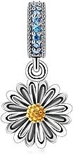 925 Sterling Silver Sunflower Charm Flower Charm Love Charm Anniversary Charm Heart Charm for Pandora Charm Bracelet