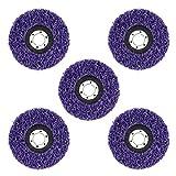 DingGreat Disco de extracción de óxido para rueda de polivinílico para amoladora de ángulo, herramienta de limpieza de pintura de rueda abrasiva, paquete de 5 unidades, color morado