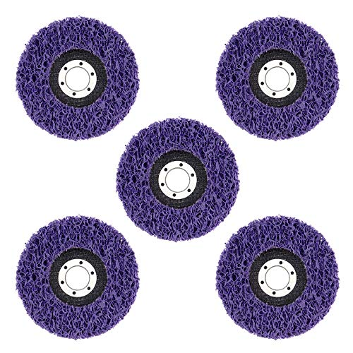 DingGreat 5 Pezzi 115 Mm Poly Strip Wheel Disco Abrasivi, Disco Di Pulizia Smerigliatrice Angolare Set Di Dischi Per La Pulizia, Dischi In Tessuto Di Nylon Per Smerigliatrice Angolare - Porpora
