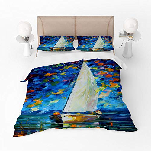 Duvet Cover Set Double-Blue boatZipper Closure with 2 Pillow covers Bedding Set Ultra Soft Hypoallergenic Microfiber Quilt Cover Sets
