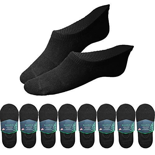 Füßlinge aus Bambus Antirutsch Silikon Pad Anti-Schweiß Socken unsichtbare Damen Herren (Schwarz-8-Stk, 43-46)