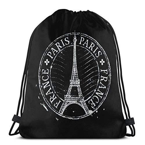 Chezaskee Paris-Eiffel-Tower Drawstring Bags Classic Men and Women Sports Backpack Storage BagTravel Beach Bag