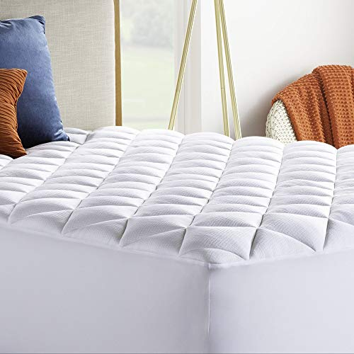 Linenspa Plush Rayon from Bamboo Pillow Top Mattress Pad - Hypoallergenic - Ultra Plush Down Alternative Filled Mattress Topper - Queen