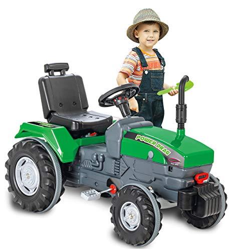 JAMARA- Tractor Power Drag – Protección antivuelco, claxon, Asiento Ajustable, capó Plegable, Enganche de Remolque, accionamiento por Pedales, Color Verde (460805)