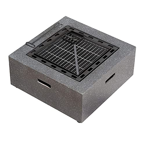 BAIYAN small firepit, Square Fire Pit with BBQ Grill Shelf, Outdoor Fireplace an Edging of MgO Artificial Stone 70 70 32cm for Garden Decoration, Campfire, Barbecue, Camping