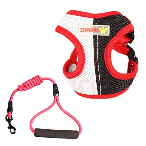 Puppiesgoed hondenharnas ademend borsttuig vest voor kleine puppy's honden kattenharnas verstelbaar mesh met lange hond leiband, S f/ 3kg, 4# + 2M leash