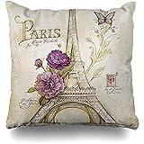 LOVE GIRL Fundas de cojín Retro Vintage Paris Torre Eiffel Mariposa Floral Tamaño Cuadrado al Aire Libre 45x45 cm Fundas de cojín Fundas de Almohada para el hogar