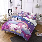 Girls Unicorn Bedding Set Full Size Girls Duvet Cover Cute Unicorn Print Bedding Girls Bed Set Unicorn Kids Duvet Cover Cartoon Bedding Children Unicorn Duvets Cover+2 Pillowcases Purple
