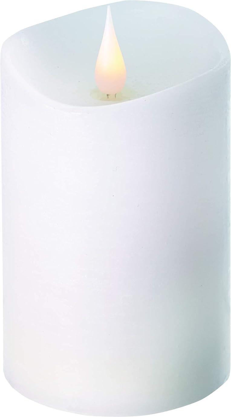 準備した王女既にエンキンドル 3D LEDキャンドル ラスティクピラー 直径7.6cm×高さ13.5cm ホワイト