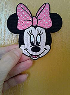 Iron On Embroidered Patch Top Quality Minnie Mouse Disney Pink & White Bow 3-1/4