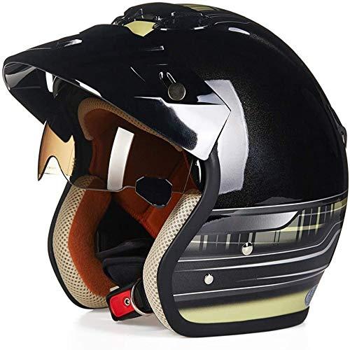 ZHXH Vintage Harley Motorcycle Helmet/adecuado para hombres y mujeres adultos Scooter Outdoor 3/6 Open Face Helmet Four Seasons Universal/dot Certification + Built-in Sunshade (blanco y negro)