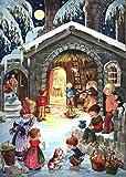 Nostalgischer Adventskalender / Weihnachtskalender für Kinder und Erwachsene mit Bildern und Glimmer 'Am Stall'