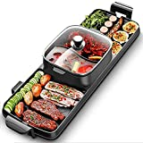 QCSMegy Parrilla eléctrica para Interiores sin Humo para Interiores, cazuela Multifuncional Teppanyaki, 3 en 1 sin Humo, Apta para 2-8 Personas portátil
