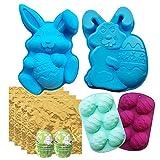 3D Pascua Huevo Conejo Forma Chocolate Silicona Conjunto De Molde, Bunny Bakeware Decoración Kit De Molde Para Pastel Jelly Pudding Candy, Azúcar Easter Artesanía,C