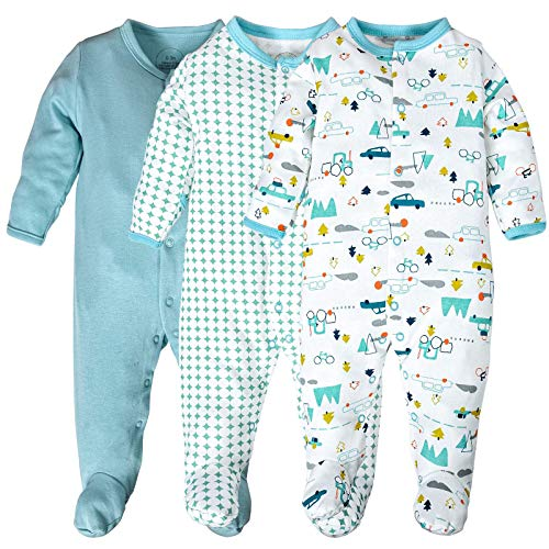 Baby Footed Pajamas,3 Pack Cotton Newborn Outfits with Mittens Infant Footie Sleeper 6-9 Months Blue