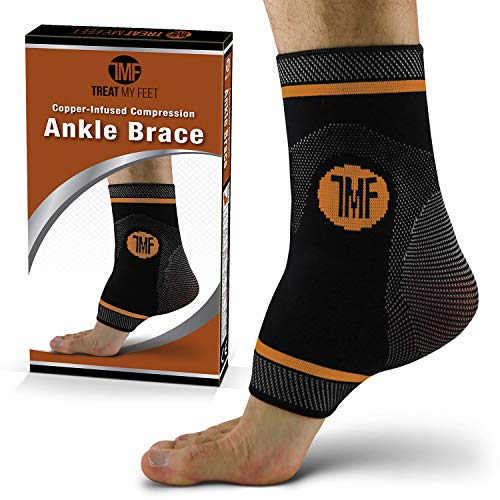 Ankle Compression Brace with Silicone Ankle Support and Copper. Plantar Fasciitis, Foot, & Achilles Tendon Pain Relief. Prevent and Support Ankle Injuries & Soreness - M