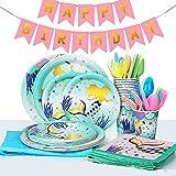 Mermaid Party Vajilla, 118 Piezas Kit de Vajilla Mermaid Party, Juego de Vajilla Magical Mermaid Party Para Fiesta de Cumpleaños, Bodas, Aniversarios (16 Invitados)