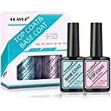 CLAVUZ Base and No Wipe Top Coat Kit 0.5oz Soak Off UV LED Gel Nail Polish Set 2 x 15ml
