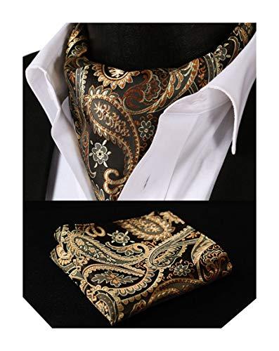 BIYINI Herren Paisley Florales Ascot Taschentuch Woven Jacquard Krawatte & Einstecktuch Set