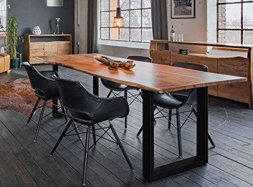 KAWOLA Essgruppe 9-Teilig mit Esstisch Baumkante Fuß schwarz 200x100cm und 8X Stuhl ZAJA Kunstleder schwarz