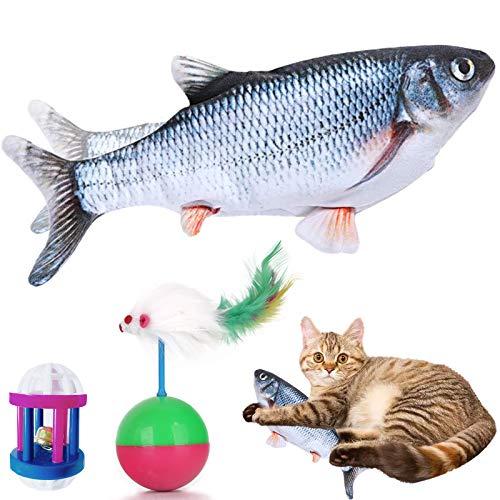 VMOPA Juguete para gato de pescado, juguete eléctrico móvil para gato de peces y gato con carga USB, juguete de peluche interactivo para gato para ejercicio de carpa y 2 juguetes