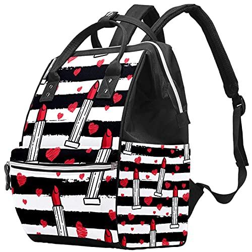 Bolsa de pañales de gran capacidad, multifunción, impermeable, mochila para mamá y papá, diseño de hojas grandes, color negro, Color4, Talla única