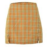 WOOKIT Minifalda a Cuadros Verano Primavera para Mujer con Cintura Alta y Cremallera A-Linie Falda Corta-Naranja-S