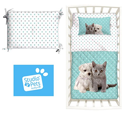 Studio Pets Couvre-lit matelassé et tour chiots Bleu Chien Chat Impression numérique couette Caleffi de demi saison