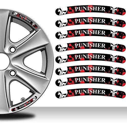 Biomar Labs® 8 Stück Vinyl Felgenrandaufkleber Punisher Aufkleber Schädel Rim Stickers Autoaufkleber Auto Moto Motorrad Fahrrad Tuning RV 36