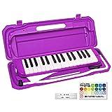 KC キョーリツ 鍵盤ハーモニカ メロディピアノ 32鍵 パープル P3001-32K/PP (ドレミ表記シール・クロス・お名前シール付き)