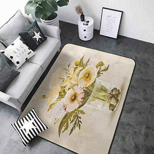 "Bath Mat Set Kitchen Door Flowers in a Glass (1) 48""x 72"" Best Floor mats"
