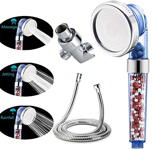VIKILY Shower Head With Replacement Hose And Holder, High Pressure Water Saving Handheld Shower Head With 3 Setting Spray 1.6 GPM For Great Shower Experience (Transparent blue)
