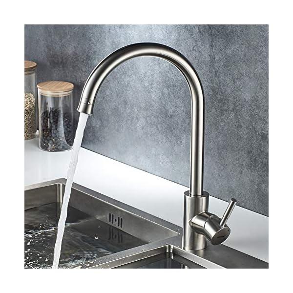 GRIFEMA Irismart – Grifo de cocina para suministro ae agua a baja presión, mezclador de fregadero, Acero