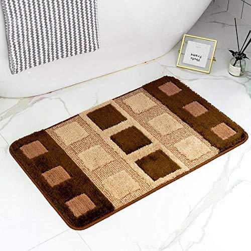 FRGTHYJ Vloermatten met dubbele vloerbedekking, waterabsorberende antislip-voetkussens voor de slaapkamer van het huishouden, badkamer, vierkante koffie, 40 * 60 cm