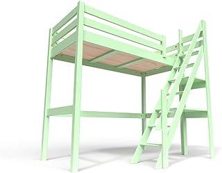 ABC MEUBLES - Lit Mezzanine Sylvia avec escalier de meunier Bois - 1130 - Vert Pastel, 90x200